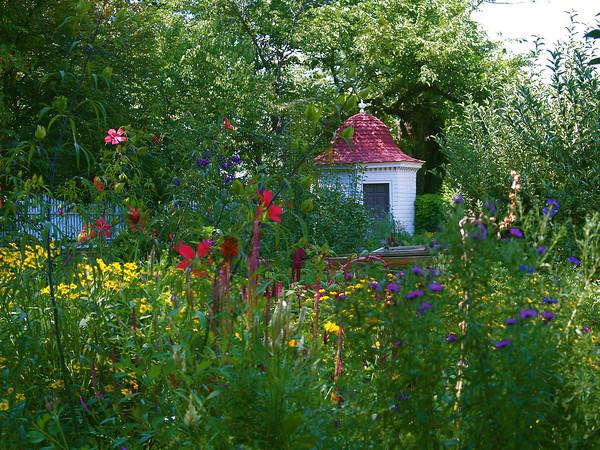 Through the garden gate.